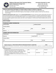 """Oklahoma Alternative Fuels Technician Address and/Or Employment Change Form"" - Oklahoma"
