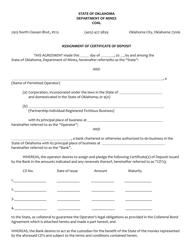 """Assignment of Certificate of Deposit - Coal"" - Oklahoma"