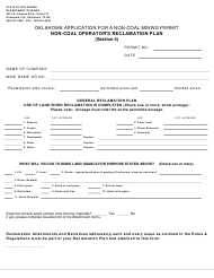 """""""Application for a Non-coal Mining Permit - Non-coal Operator's Reclamation Plan (Section 4)"""" - Oklahoma"""