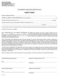 """Surety Bond Form"" - Oklahoma"
