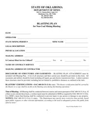 """""""Blasting Plan for Non-coal Mining Blasting"""" - Oklahoma"""