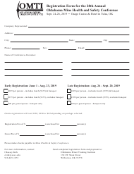 """Registration Form for the 28th Annual Oklahoma Mine Health and Safety Conference"" - Oklahoma, 2019"
