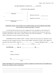 "Form 12A ""Certification and Notice of Completion of Electronic Record for Appeals From District Court"" - Oklahoma"