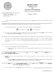 """SOS Form 0068 """"Restated Certificate of Limited Partnership (Oklahoma Limited Partnership)"""" - Oklahoma"""