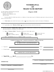 """SOS Form 0040 """"Withdrawal of Trade Name Report"""" - Oklahoma"""