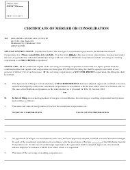 """SOS Form 0024 """"Certificate of Merger or Consolidation (Foreign Corporation Into Oklahoma Corporation)"""" - Oklahoma"""