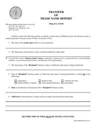 """SOS Form 0016 """"Transfer of Trade Name Report"""" - Oklahoma"""
