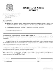"SOS Form 0032 ""Fictitious Name Report"" - Oklahoma"