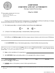 """SOS Form 0031 """"Amended Certificate of Authority (Foreign Limited Partnership)"""" - Oklahoma"""