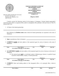 "SOS Form 0089 ""Change or Designation of Registered Agent and/Or Registered Office and/Or Designated Office (Foreign Lp)"" - Oklahoma"
