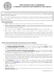 """SOS Form 0030 """"Certificate of Authority (Foreign Limited Partnership)"""" - Oklahoma"""