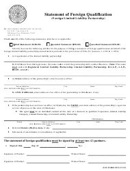 """SOS Form 0096 """"Statement of Foreign Qualification (Foreign Limited Liability Partnership)"""" - Oklahoma"""
