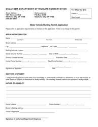 """Motor Vehicle Hunting Permit Application Form"" - Oklahoma"