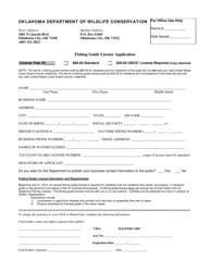 """Fishing Guide License Application Form"" - Oklahoma"