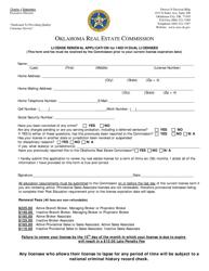 """License Renewal Application for Individual Licensees"" - Oklahoma"