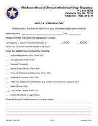 "OBLADC Form 203 ""Application Inventory"" - Oklahoma"