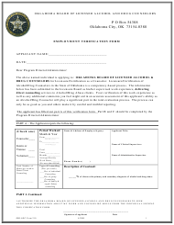"OBLADC Form 210 ""Employment Verification Form"" - Oklahoma"