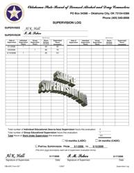"Sample OBLADC Form 207 ""Supervision Log"" - Oklahoma"