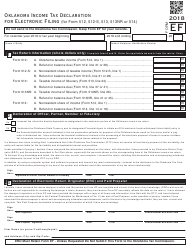 Form EF 2018 Oklahoma Income Tax Declaration for Electronic Filing (For Form 512, 512-s, 513, 513nr or 514) - Oklahoma