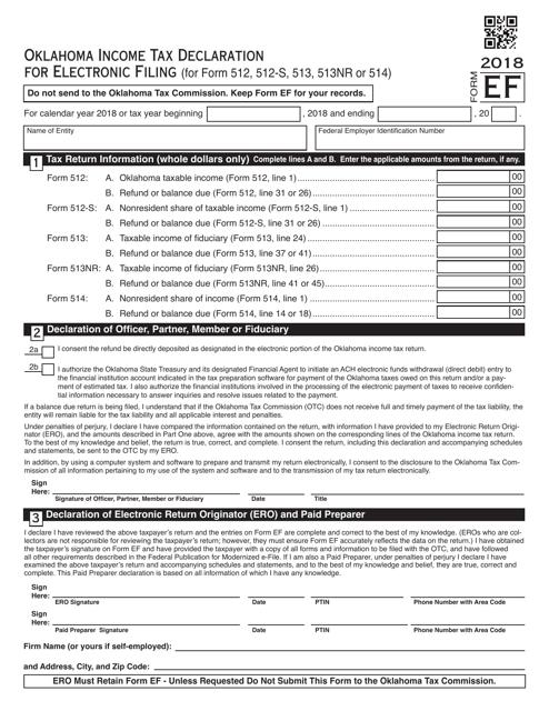 OTC Form EF 2018 Printable Pdf