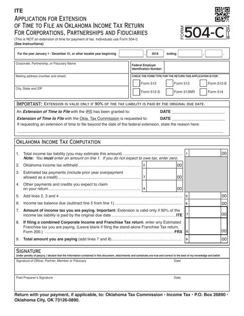 OTC Form 504-C 2018 Fillable Pdf