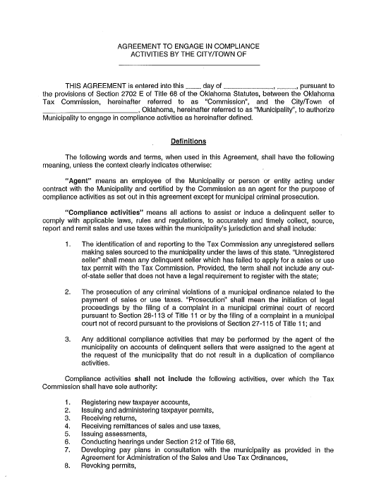 """""""Agreement to Engage in Compliance Activities"""" - Oklahoma Download Pdf"""