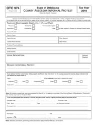 OTC Form OTC 974 2019 County Assessor Informal Protest - Oklahoma