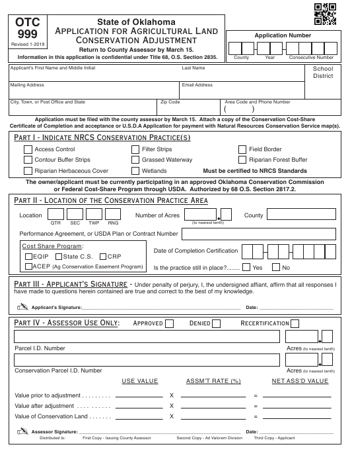 OTC Form OTC 999 Printable Pdf