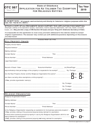 Form OTC 987 2019 Application for Ad Valorem Tax Exemption for Religious Entities - Oklahoma