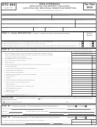 Form OTC 994 2019 Application for Property Valuation Limitation and Additional Homestead Exemption - Oklahoma