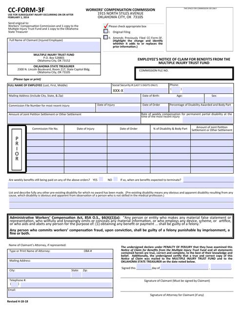 CC- Form 3F  Printable Pdf