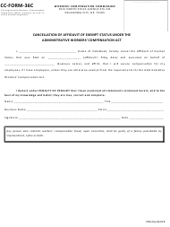 "CC- Form 36C ""Cancellation of Affidavit of Exempt Status Under the Administrative Workers' Compensation Act"" - Oklahoma"