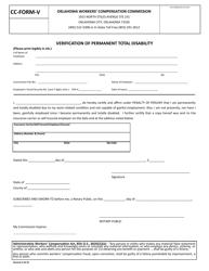 "CC- Form V ""Verification of Permanent Total Disability"" - Oklahoma"