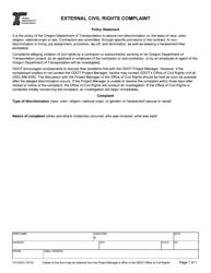 """Form 731-0333 """"External Civil Rights Complaint"""" - Oregon"""