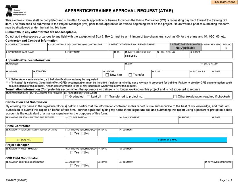 Form 734-2878  Printable Pdf