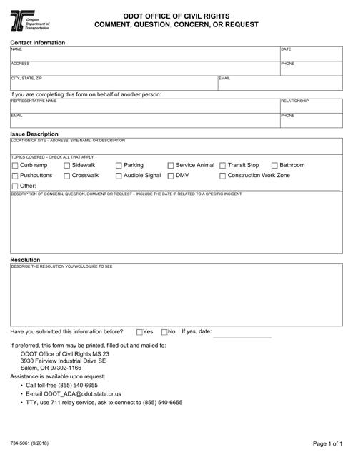 Form 734-5061  Printable Pdf