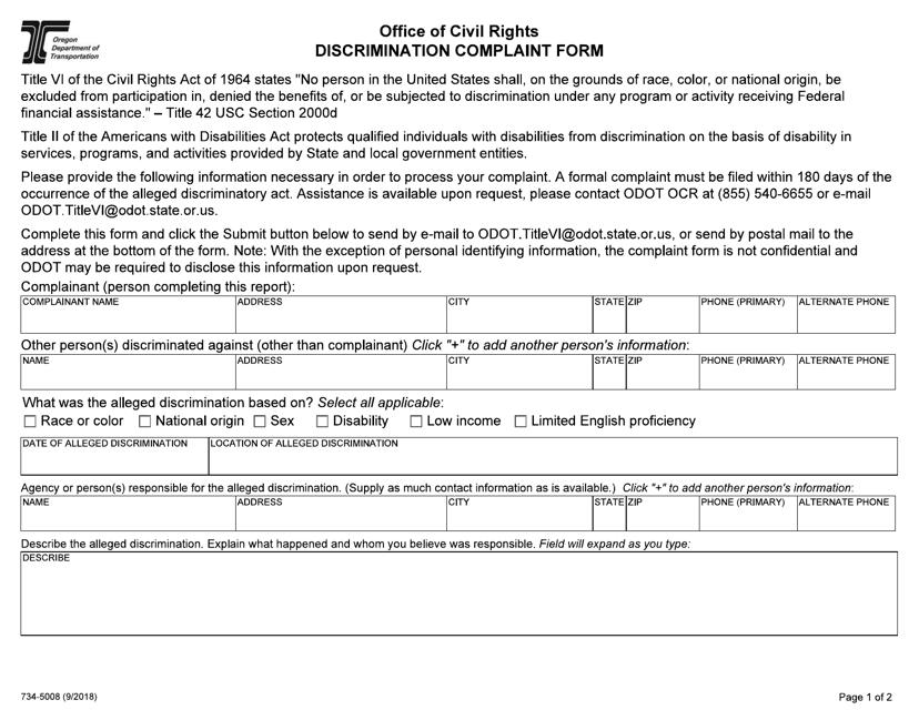 Form 734-5008  Printable Pdf