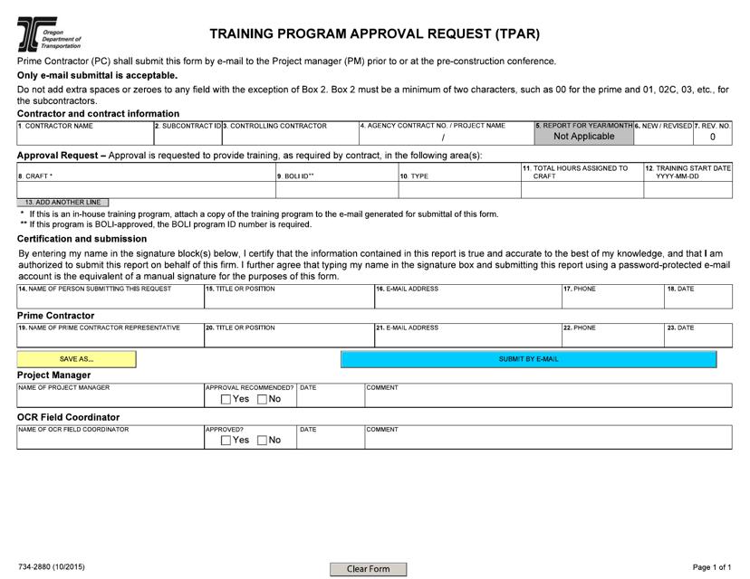 Form 734-2880  Printable Pdf