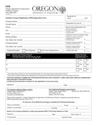 """""""Fertilizer Product Registration (Fpr) Application Form"""" - Oregon"""
