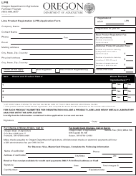 """Lime Product Registration (Lpr) Application Form"" - Oregon"