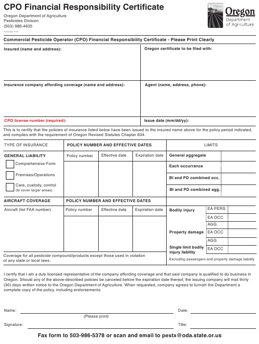 Cpo Financial Responsibility Certifcate Form Oregon Download