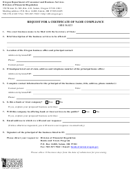 """Form 440-4867 """"Request for a Certificate of Name Compliance"""" - Oregon"""