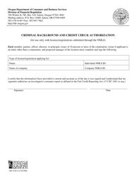 "Form 440-5198 ""Criminal Background and Credit Check Authorization - Short Form"" - Oregon"