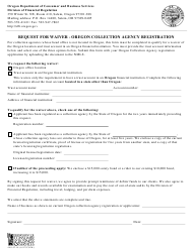 "Form 440-5218 ""Request for Waiver - Oregon Collection Agency Registration"" - Oregon"