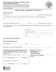 "Form 440-2780 ""Credit Union Amendment to Bylaws"" - Oregon"