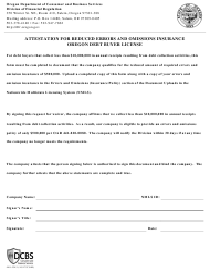 "Form 440-5343 ""Attestation for Reduced Errors and Omissions Insurance Oregon Debt Buyer License"" - Oregon"