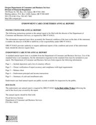 "Form 440-4016 ""Endowment Care Cemetery Annual Report"" - Oregon"