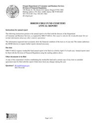 "Form 440-2929 ""Irreducible Fund Cemetery Annual Report"" - Oregon"