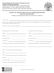 """Form 440-3437 """"Notice of Appointment of Successor Depository or Master Trustee"""" - Oregon"""