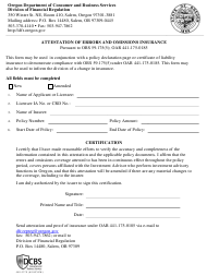 """Form 440-5379 """"Attestation of Errors and Omissions Insurance"""" - Oregon"""